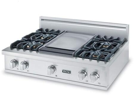 "Viking VGRT5364BS 36"" Professional 5 Series Gas Rangetop with 4 Sealed Burners and Griddle, VariSimmer Setting and Porcelainized Cooking Surface, in Stainless Steel"