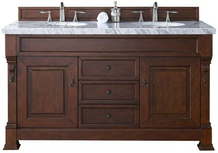 """James Martin Brookfield Collection 147-114-5681- 60"""" Warm Cherry Double Vanity with Two Soft Closing Doors, Three Soft Closing Drawers, Backsplash, Hand Carved Filigrees and"""