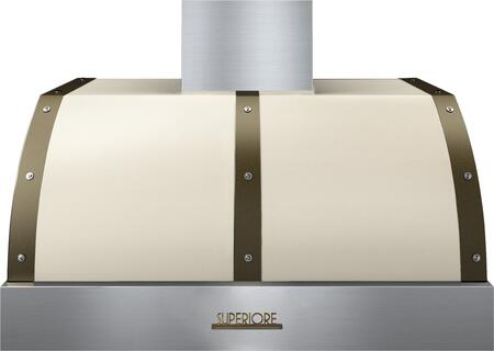 """Tecnogas Superiore HD361BTC 36"""" DECO Series Hood With 1 Blower, Electronic Buttons Control, And Stainless Steel Baffle Filters: Cream With"""