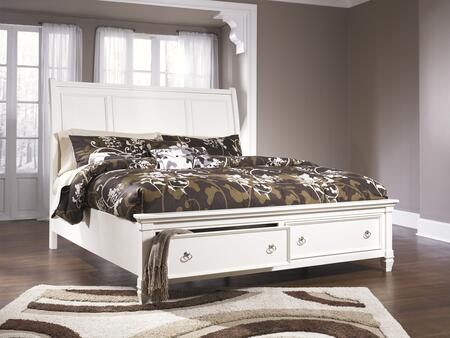 Millennium B672STORAGEBED Prentice Collection x Size Storage Bed with Selected Veneers and Hardwood Solids in White