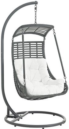 Modway Jungle Collection Outdoor Patio Swing Chair with Synthetic Rattan Weave, UV Resistant, Powder-Coated Steel Frame and Polyester Cushion in
