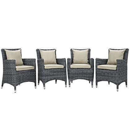 Modway EEI2314GRYBEISET Summon Series  Aluminum Frame  Patio Arm Chair
