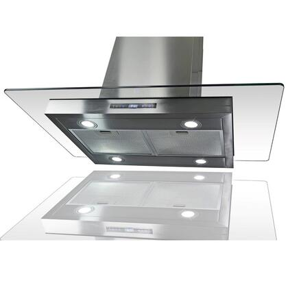 "Golden Vantage GIRCI36 36"" Island Mount Range with 870 CFM, 65 dB, Innovative Touch, LED Lighting, 3 Fan Speed, Aluminum Grease Filter and X: Stainless"
