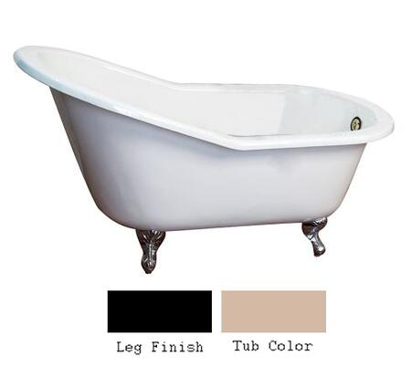 """Barclay CTSN67 67"""" Icarus Cast Iron Slipper Tub with Overflow and No Holes in"""
