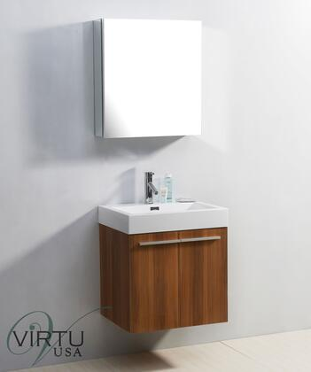 """Virtu USA JS-50124-XX Midori 24"""" Single Sink Bathroom Vaniety with Polymarble Top and Integrated Basin, 2 Doors, PS-103 Faucets and in X Finish with 24"""" x 26"""" Mirrored Cabinet"""
