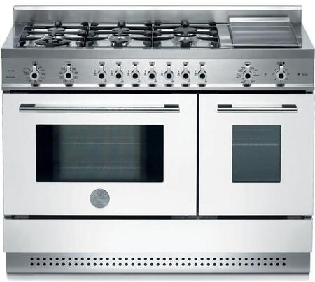 Bertazzoni X486GPIRBI Professional Series Dual Fuel Freestanding Range with Sealed Burner Cooktop, 2.9 cu. ft. Primary Oven Capacity, in White
