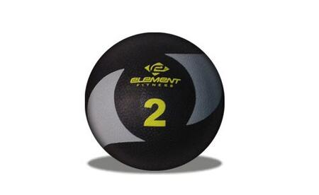 Element Fitness E-100-MEDB Commercial Medicine Ball with Textured Surface, Grip Control, and PVC Rubber Material, in Black