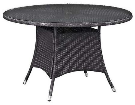 Modway Convene EEI191 Outdoor Patio Dining Table with Tempered Glass Top, Umbrella Hole, Aluminum Tube Frame, Water and UV Resistant in Espresso Color