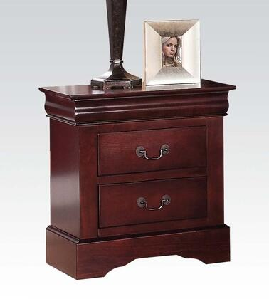 """Acme Furniture Louis Philippe III Collection 22"""" Nightstand with 2 Drawers, Faux Marble Top, Crown Molding and Antique Brass Hardware in"""
