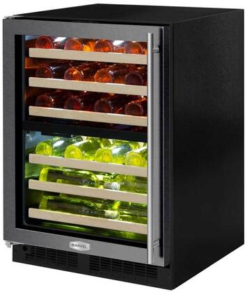 "Marvel ML24WDT 24"" Marvel High-Efficiency Dual Zone Wine Refrigerator with Dynamic Cooling Technology, Vibration Neutralization System, Thermal Efficient Cabinet, and Soft Close Integrated Controls, in"