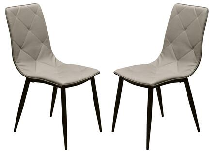 Diamond Sofa SIGMADCXX Sigma Set of 2 Dining Chair in with Diamond Tuft Leatherette and Powder Coat Metal Legs in