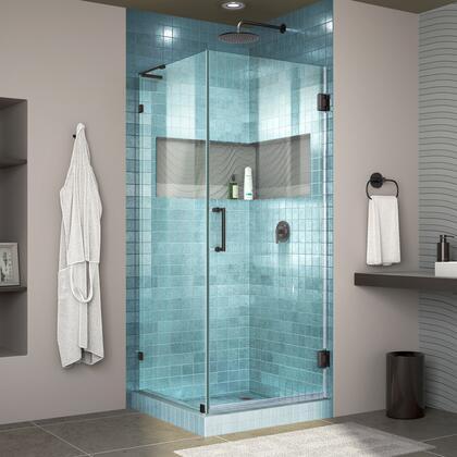 DreamLine Unidoor Lux Shower Enclosure RS30 30D 30RP 09 Blue Tile