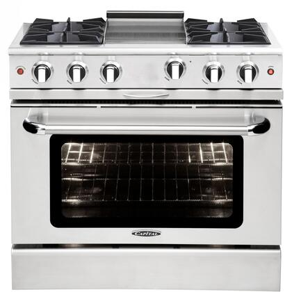 """Capital MCOR364GL 36"""" Culinarian Series Gas Freestanding Range with Open Burner Cooktop, 4.9 cu. ft. Primary Oven Capacity, in Stainless Steel"""