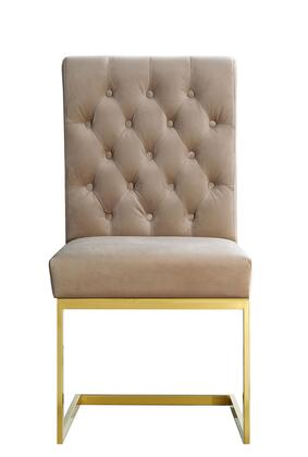 "Meridian Cameron Collection 712X-C 39"" Dining Chair with Plush Velvet Upholstery, Rich Gold Stainless Steel and Contemporary Style in"