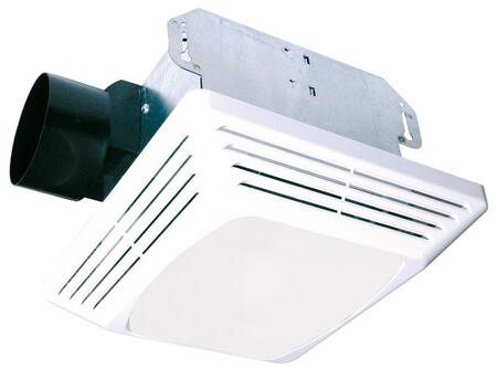 Air King ASLCx Exhaust Fan with x CFM, Lighting, 23 Gauge Galvanized Metal Housing, and Polymeric Grill, in White
