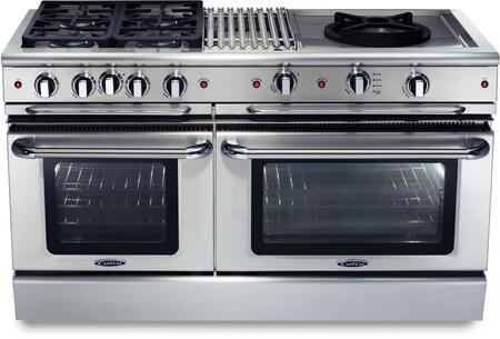 """Capital GSCR604BWN 60"""" Precision Series Gas Freestanding Range with Sealed Burner Cooktop, 4.6 cu. ft. Primary Oven Capacity, in Stainless Steel"""