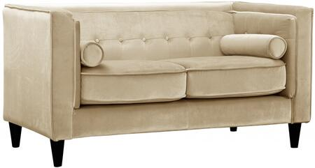 "Meridian Taylor Collection 642-L 62"" Loveseat with Top Quality Velvet Upholstery, Accent Pillows and Button Tufting in"