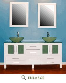 "Cambridge 8119BWX 63"" Solid White Wood Vanity with Frosted Glass Counter Top and 2 Matching Vessel Sinks. Included: 2 Long-Stemmed Faucets"