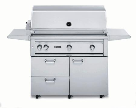 "Lynx L42PSFR-2 Professional Series 42"" Grill on Cart with 2 Brass Burners, 1 ProSear2 Burner and Rotisserie, 1,200 sq. in. Cooking Surface and Heat Stabilizing Design, in Stainless Steel:"