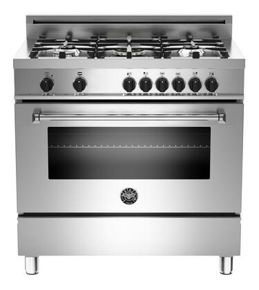 "Bertazzoni MAS365DFMXE 36"" Master Series Dual Fuel Freestanding Range with Sealed Burner Cooktop, 4.4 cu. ft. Primary Oven Capacity, in Stainless Steel"