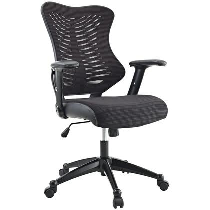 "Modway EEI-209 Clutch 20"" Office Chair with Adjustable Height, Padded Leatherette Arms, Seat Tilt with Tension Control, Breathable Black Mesh Back, and Dual-Wheel Casters"