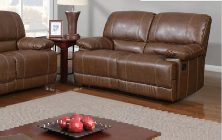 Global Furniture USA U9963RodeoBrownL Bonded Leather Reclining with Wood Frame Loveseat