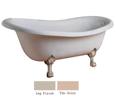 "Barclay CTSN67LP 67"" Kirkland Cast Iron Slipper Tub with Overflow and No Faucet Holes in"