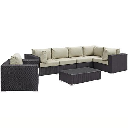 Modway Convene Collection EEI-2157-EXP 7-Piece Outdoor Patio Sectional Set with Armchair, Coffee Table, 3 Corner Sections and 2 Armless Sections in