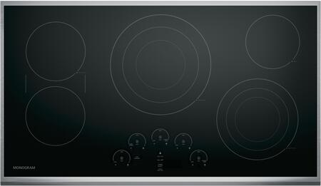 GE Monogram ZEU3xRSJ Electric Cooktop with 5 Elements, SyncBurners, Glide Touch Controls, LED Display and Control Lock, in Black with Stainless Steel Trim