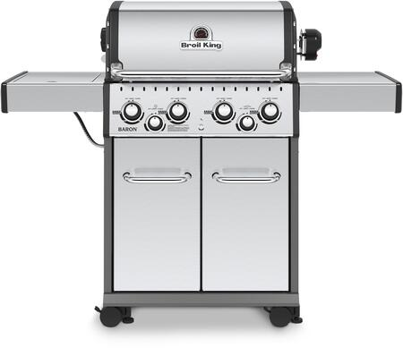 "Broil King 9235 24"" Baron S490 With 4 Burners, 644 sq. in. Cooking Space, 40000 BTU Main Burner, 10000 BTU Side Burner, 15000 BTU Rotisserie Burner, in Stainless Steel"