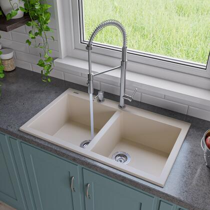 """Alfi AB3420DI-XX 34"""" Double Bowl Kitchen Sink with Granite Composite, Drop-In Installation Hardware and One Pre-Drilled Faucet Hole in"""