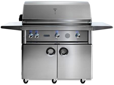 """Lynx SMART42Fx 42"""" Professional Series Freestanding Smart Grill on Cart with 3 Trident ProSear2 Infrared Burners, 1200 sq. in. Cooking Surface, Smart Wifi Connectivity, Rotisserie and Backlit Blue LED Knobs, in Stainless Steel"""