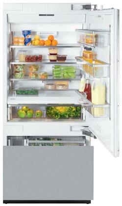 Miele KF1XSF Energy Star Fully Integrated Bottom Freezer Refrigerator with X cu. ft. Capacity, Adjustable Spill Proof Drop and Lock Shelves, SmartFresh Drawers and Ice Maker: Clear Touch Steel with