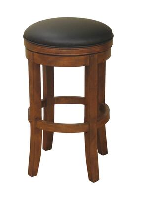 "American Heritage Winston Series 1XX774AM-L01 Traditional Stool with Full Bearing Swivel, 3"" Cushion, Web Seating, Floor Glides, and Mortise and Tenon Construction Finished in Amaretto with Black Leather"