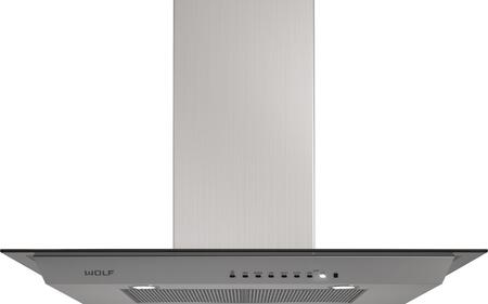 Wolf VWGXX Wall Mounted Chimney Hood with Dishwasher-safe Filters, Telescoping Chimney, Front-mounted Electronic Controls, and LED Lighting, in Stainless Steel with Glass Canopy