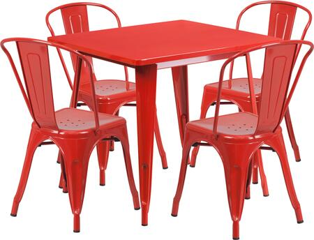 Flash Furniture ETCT002430REDGG Square Shape Patio Sets