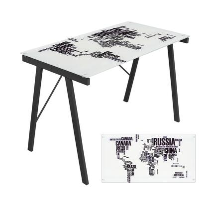 """LumiSource Exponent OFD-TM 44"""" Desk with Tempered Glass Top, Stretcher and Steel Base in"""