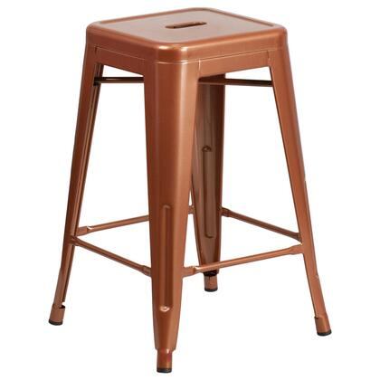 "Flash Furniture ET-BT3503-24 24"" Indoor-Outdoor Backless Counter Height Stool with Powder Coat Finish, Cross Brace for Support and Plastic Floor Glides in"