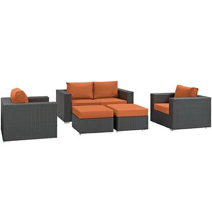 Modway Sojourn Collection 5 PC Outdoor Patio Sectional Set with Sunbrella Fabric, Powder Coated Aluminum Frame, Synthetic Rattan Weave Material, Water and UV Resistant in