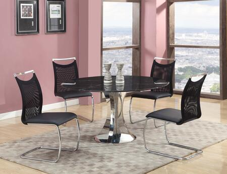 Chintaly NADINE5PC NADINE DINING 5 Piece Set - Natural Marble-Black Marquina Dining Table with 4 Meshed Back Cantilever Side Chairs