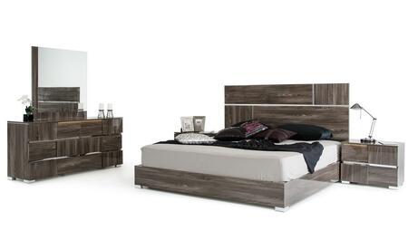VIG Furniture VGACPICASSOSETGREYCK Modrest Picasso Series 5 Piece Bedroom Set
