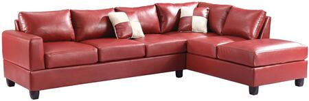 "Glory Furniture 111"" Sectional Sofa with Comfortable Tufted Seating, Removable Backs and PU Leather Upholstery"