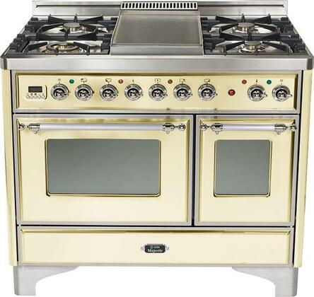 Ilve UMTD1006MPA Majestic Techno Series Dual Fuel Freestanding Range with Sealed Burner Cooktop, 2.44 cu. ft. Primary Oven Capacity, Warming in Antique White