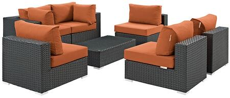 Modway Sojourn Collection 7 PC Outdoor Patio Sectional Set with 4 Armless Chairs, 2 Corner Chairs, Glass Top Coffee Table, Powder Coated Aluminum Frame and Sunbrella Fabric in