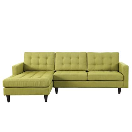 "Modway Empress EEI1666 99.5"" Sectional Sofa with Left Arm Facing Chaise, Button Tufted Cushions, Track Arms, Solid Wood Legs and Fabric Upholstery in"