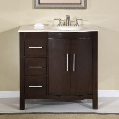 "Silkroad Exclusive HYP-0912-CM-UWC-36 Kimberly 36"" Single Sink Cabinet with 3 Drawers, 2 Doors, Cream Marfil Marble Top and Undermount White Ceramic Sink (3 Holes) in Dark Brown Finish"