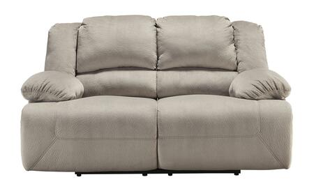 Milo Italia Esteban MI-2742DTMP Reclining Loveseat with Bustle Back Design, Thick Pillow Top Arms, and Textured Fabric Upholstery in Granite