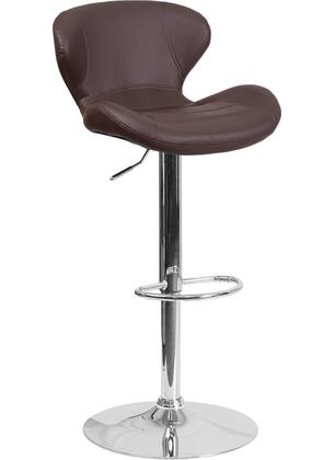 """Flash Furniture CH-321 34""""-42"""" Vinyl Upholstered Barstool with Chrome Base, Adjustable Height and Swivel Seat in"""