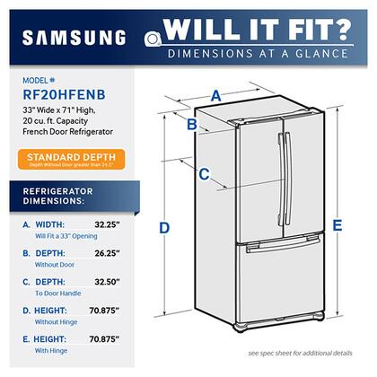 Samsung Rf20hfenbsr 33 Inch French Door Refrigerator With 194 Cu