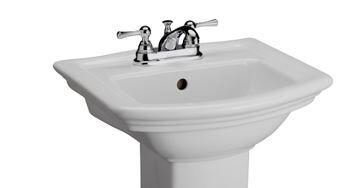 """Barclay B/3-38WH Washington 460 Basin Only, with Pre-drilled Faucet Holes, Overflow, 6"""" Basin Depth, and Vitreous China Construction, in White"""